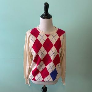 100% Cashmere Argyle Sweater Medium Vintage 38